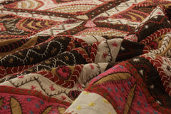 Traditional Rangoli Kantha Embroidered Cotton Double Bedcover