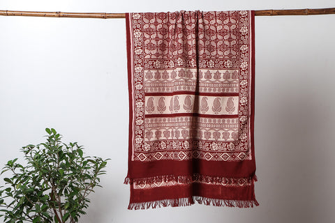 Bagh Print Towel in Natural Dyed Handloom Cotton Fabric from Jhiri