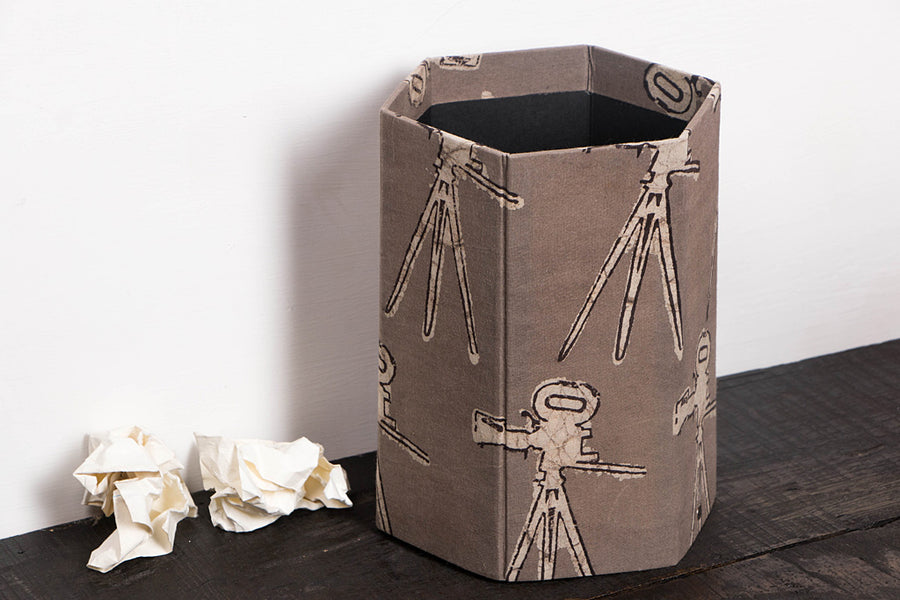 Block Printed Fabric Handmade Collapsible Waste Paperbin by Sukriti