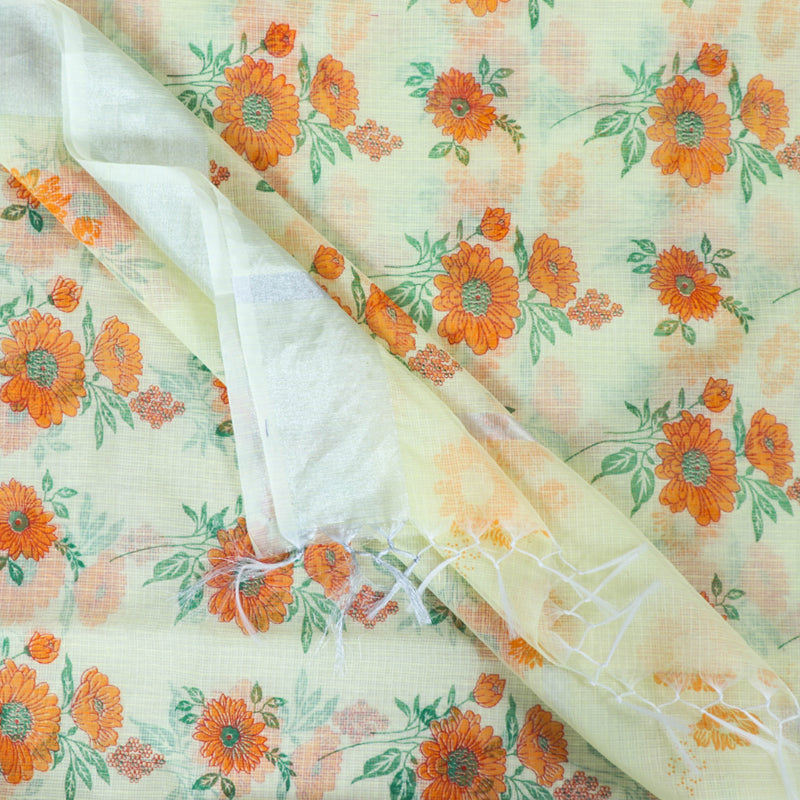 Kota Doria Cotton Printed Saree with Zari Border