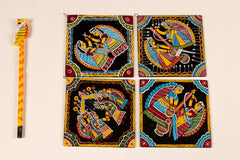 Madhubani Hand-Painted Coasters (Set Of 4)