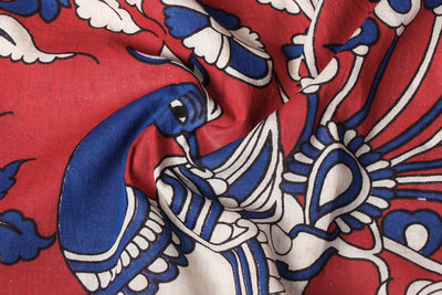 Kalamkari Printed Pure Cotton Saree with Blouse