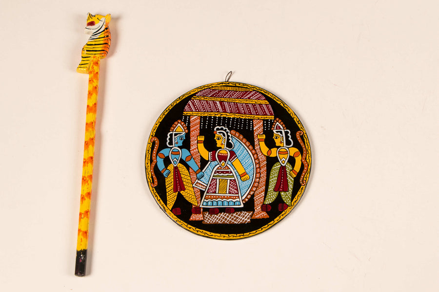 "Madhubani Hand-Painted Wall Hanging/Trivet 5"" (Single)"