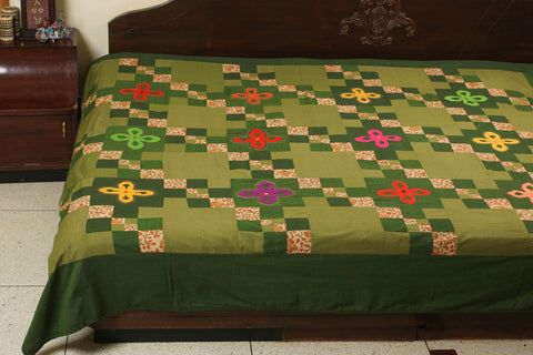 "Applique and Patchwork Bedspread - 90""X96"""