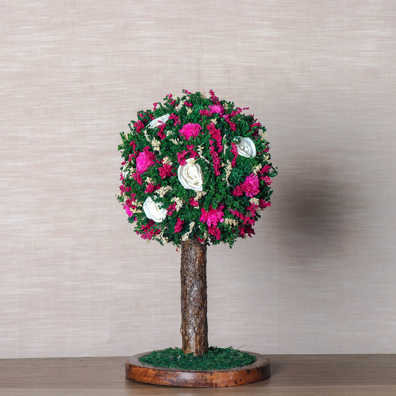 Handmade Bonsai Tree With Sola Flower Arrangement on Wooden Base
