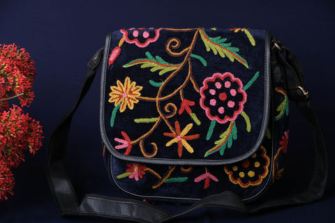 Original Crewel Hand Embroidered Sling Bag