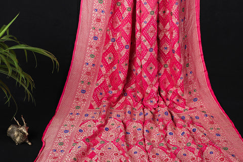 Meenakari Neem Jaal Work Pure Georgette Traditional Bandhani Saree