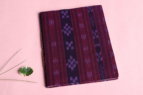 Ikat Fabric Cover Handmade Ruled Paper Slim Diary 9in X 7in
