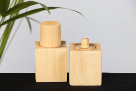 Handmade Wooden Pincer Grasp Cylinders Set