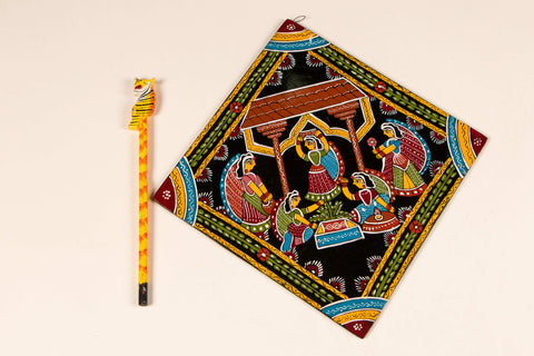 "Madhubani Hand-Painted Wall Hanging/Trivet 8"" (Single)"