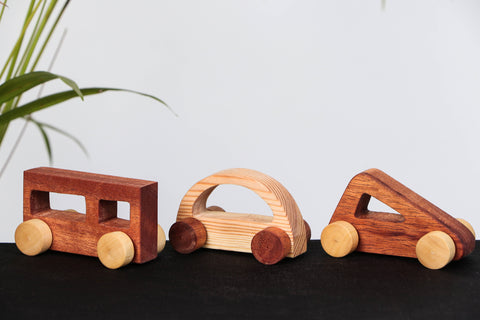 Handmade Wooden Geometric Vehicles - Set of 3
