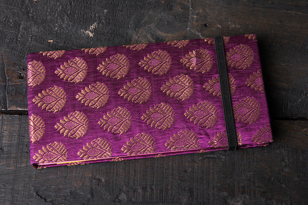 Purple Brocade Long Notebook 4in x 8in