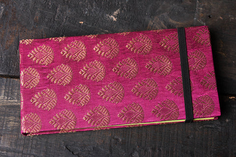 Pink Brocade Long Notebook 4in x 8in