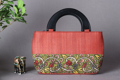 Handpainted Kalamkari Natural Dyed Ghicha Silk Hand Bag