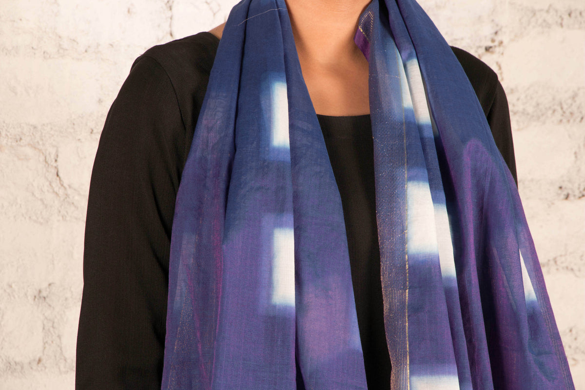 Shibori Tie-Dye Chanderi Silk Stole With Zari