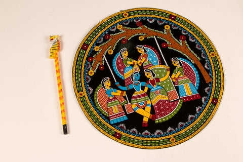 "Madhubani Hand-Painted Wall Hanging/Trivet 12"" (Single)"
