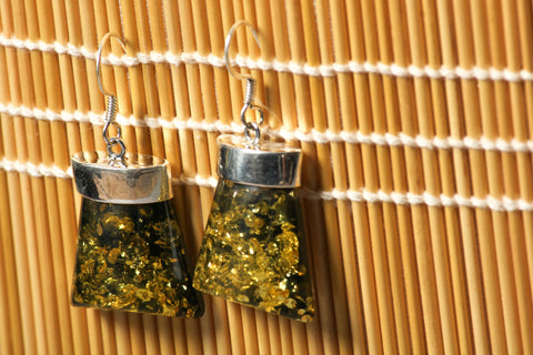 Natural Stone Encrusted Sterling Silver Earring