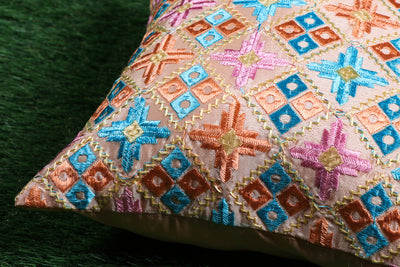 Phulkari Embroidered Chinnon Cushion Cover (16 x 16 in)