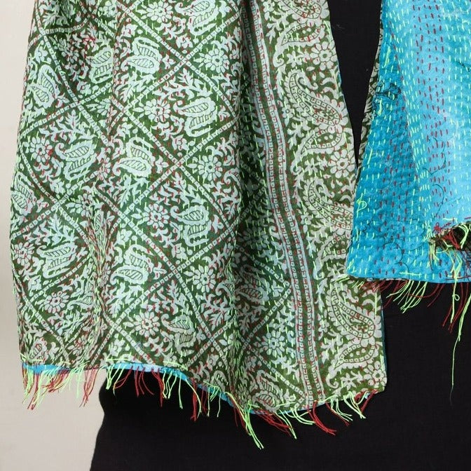 Bengal Kantha Embroidered Reversible Silk Stole