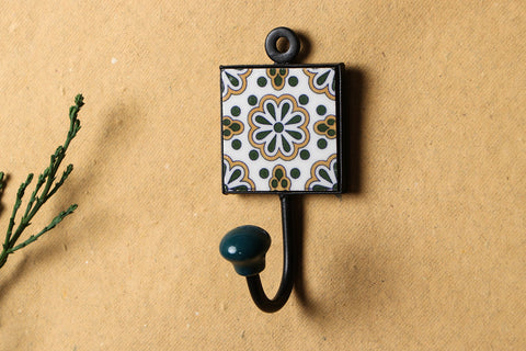 Original Blue Pottery Ceramic Tile Wall Hook Hanger (1Peg)