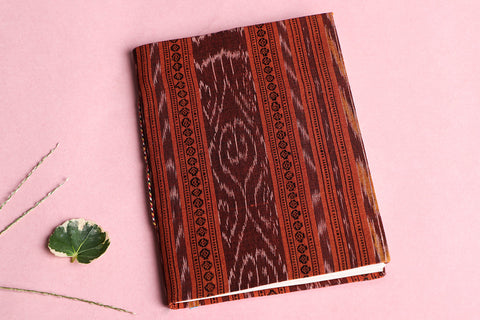 Ikat Fabric Cover Handmade Ruled Paper Slim Diary 7in X 5in