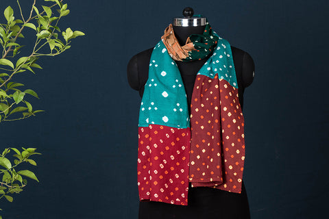 Kutch Bandhani Patchwork Cotton Stole