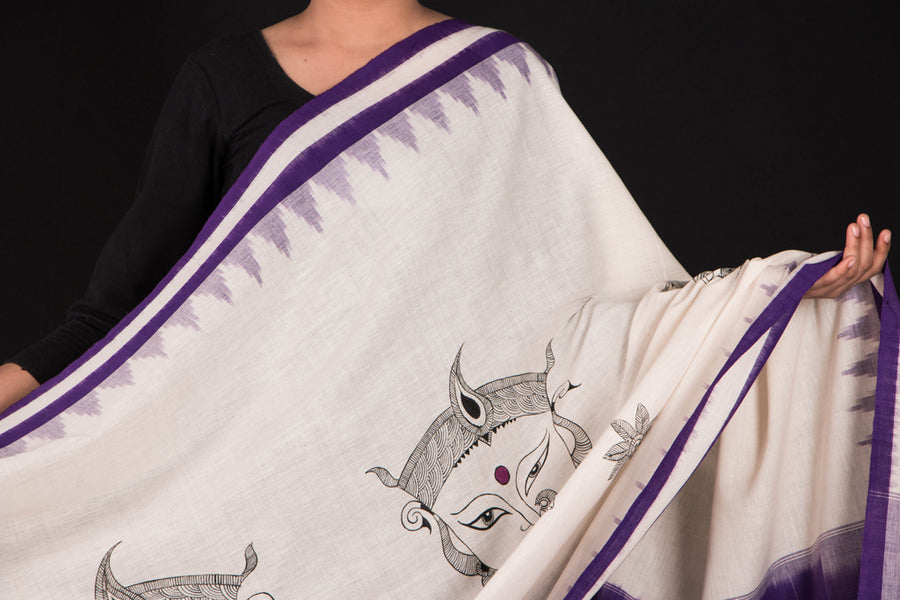 Handpainted Cotton Ikat Dupatta by Varushali