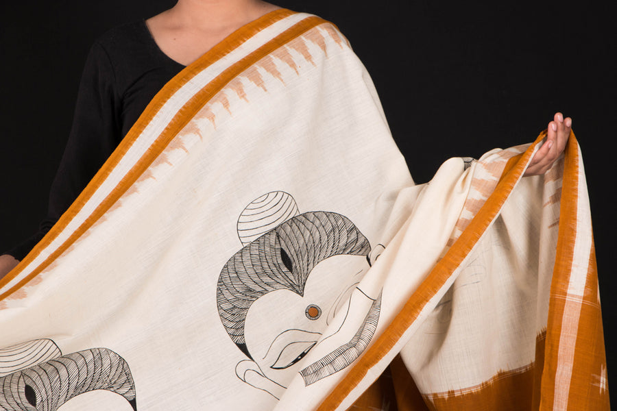 Handpainted Cotton Ikat Dupatta by Varushali - Buddha