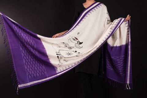 Handpainted Cotton Ikat Dupatta by Varushali - Nandi