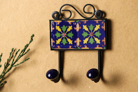 Original Blue Pottery Ceramic Tile Wall Hook Hanger (2Peg)