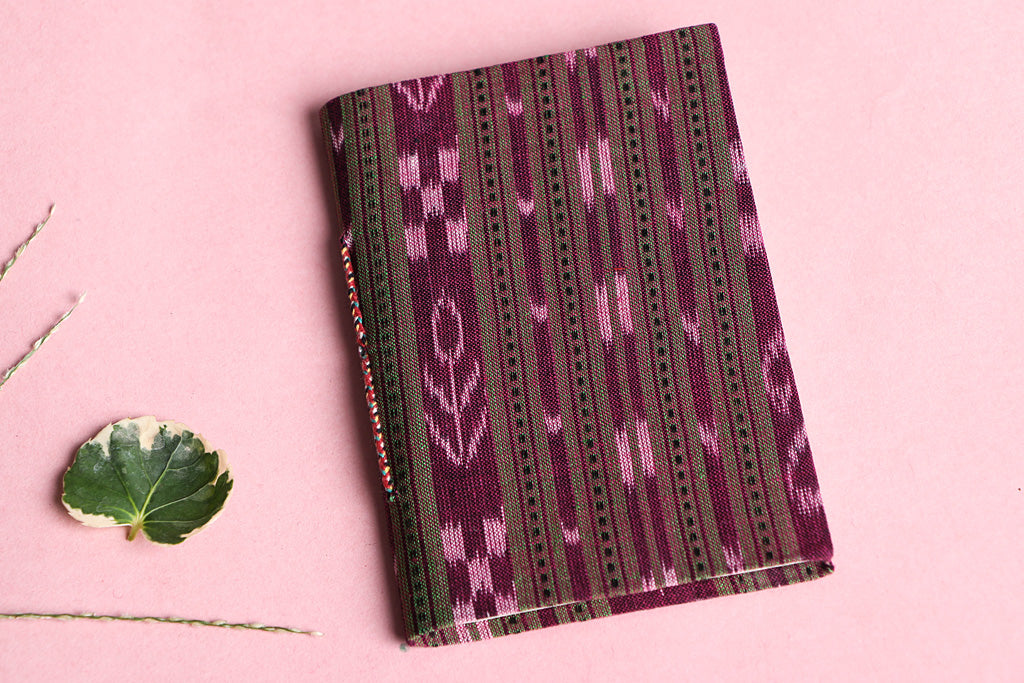 Ikat Fabric Cover Handmade Ruled Paper Slim Diary 5in X 3.5in