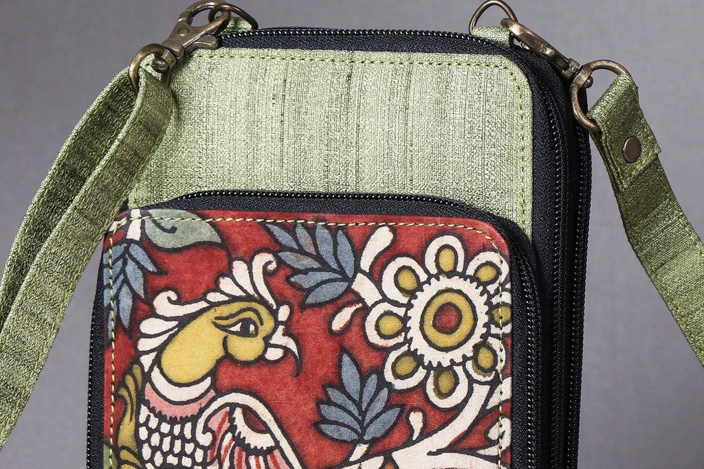 Handpainted Kalamkari Natural Dyed Ghicha Silk Sling Bag