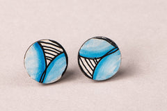 Kerala Mural Hand Painted Stud Earrings
