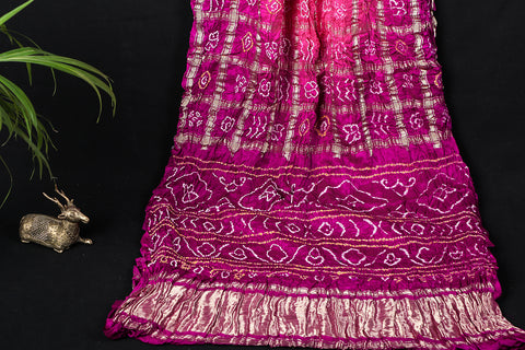 Pure Gajji Silk Zari Checks Traditional Gharchola Bandhani Saree