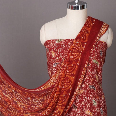 Hand Batik Printed Muslin Cotton 3pc Suit Material Set with Chiffon Dupatta