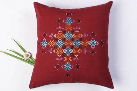 Soof Stitch Embroidery Pure Handloom Cotton Cushion Cover (16in x 16in)