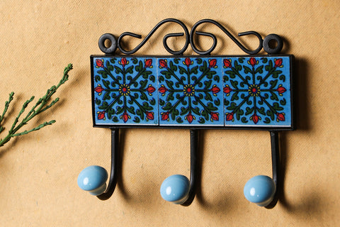 Original Blue Pottery Ceramic Tile Wall Hook Hanger (3Peg)