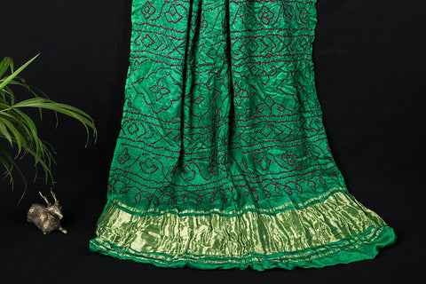 Pure Gajji Silk Zari Traditional Bandhani Saree
