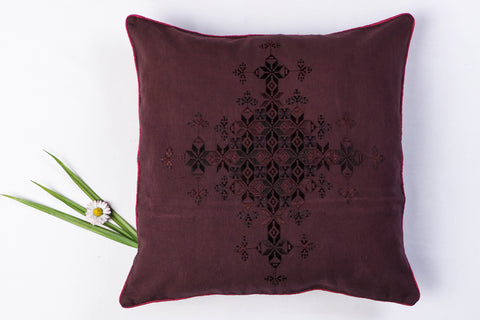 Soof Stitch Embroidery Pure Handloom Cotton Cushion Cover (15in x 15in)