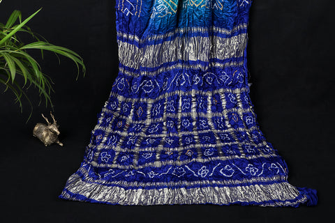 Pure Gajji Silk Zari Checks Traditional Bavanbhat Bandhani Saree