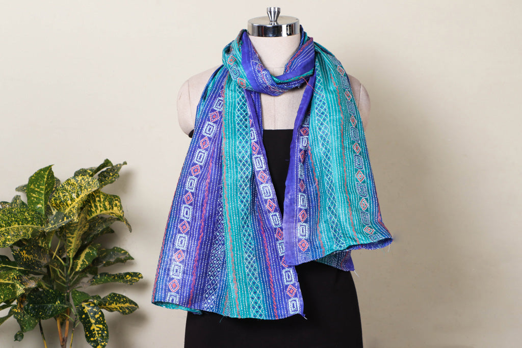 Bengal Kantha Embroidered Silk Cotton Handloom Stole