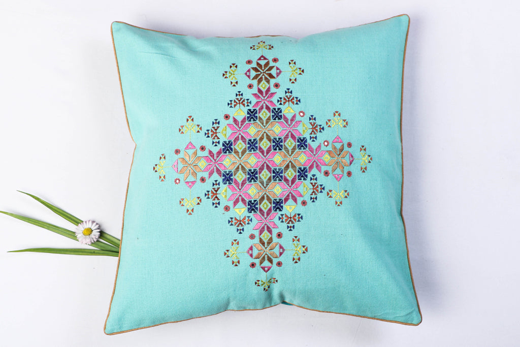 Mirror Work Soof Stitch Embroidery Pure Handloom Cotton Cushion Cover (16in x 16in)