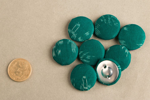 Ikat Fabric Button Big (Set Of 8 )