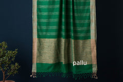 Bengal Handloom Tangail Jaquard Cotton Jute Stripes Saree