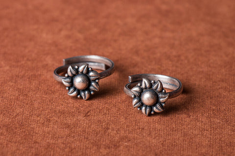 Antique Padma Sterling Silver Toe Rings (adjustable)