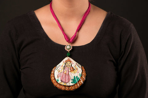 Patachitra Handpainted Sea Shell Necklace - Saraswati