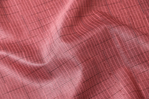 Self Checks n Stripes Vidarbha Tussar Silk Cotton Handloom Fabric