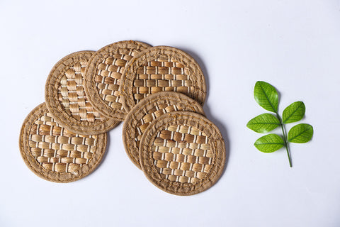 Handmade Organic Water Hyacinth Coasters Set of 6 from Assam
