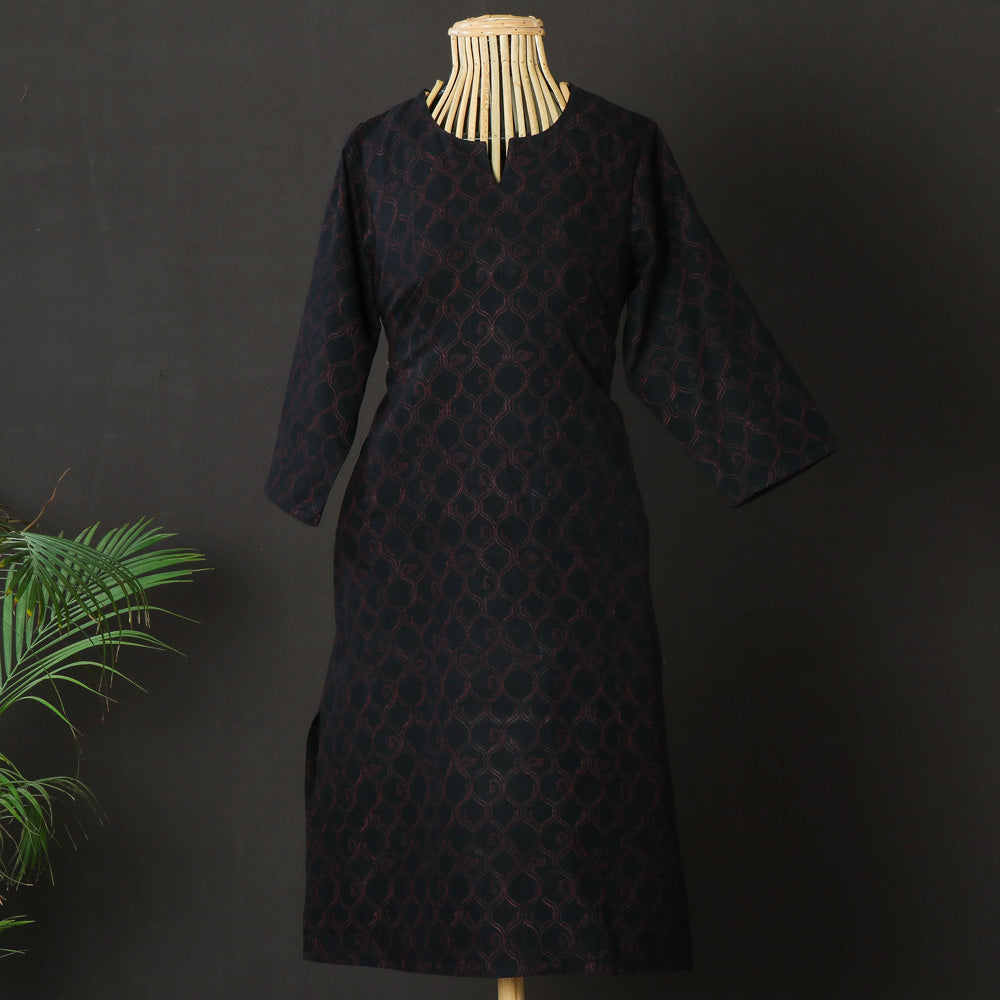 Daram Women Mangalgiri Cotton Hand Block Printed 3/4th Sleeves Kurti