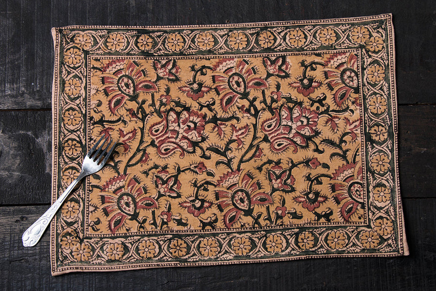 Original Pedana Kalamkari Block Printed Natural Dyed Cotton Table Mat